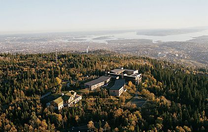 Aerial photograph of the Soria Moria Conference Centre, located on top of Oslo, Norway